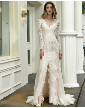 V-neck Ivory Lace Mermaid Appliqued Side Slit Wedding Dress with Long Sleeves QDWD027