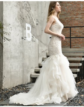 Lace Ivory Lace Ruffled Mermaid Wedding Dress QDWD028