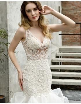Deep V-neck Ivory Lace Bodice Ruffled Mermaid Wedding Dress QDWD029