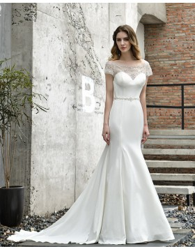 Bateau White Beading Satin Mermaid Wedding Dress with Short Sleeves QDWD030