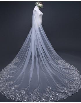 White Tulle Beaded Lace Edge Chapel Length Bridal Veil TS17103
