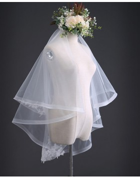 Two Tiers Tulle Ivory Elbow Length Bridal Veil with Comb TS17105