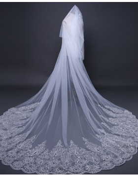 Two Tiers Tulle Beaded Lace Applique Edge Bridal Veil TS17110
