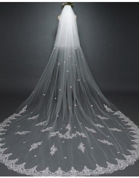 Two Tier White Lace Applique Cathedral Length Bridal Veil with Comb TS17117