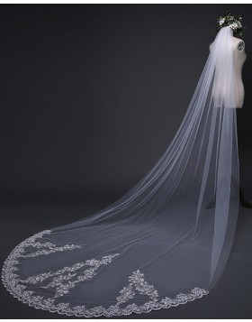 White Lace Applique Edge Cathedral Length Bridal Veil TS17119