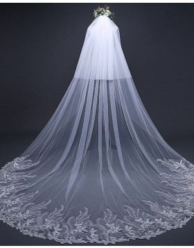 Two Tiers White Cathedral Length Lace Applique Edge Bridal Veil TS17124