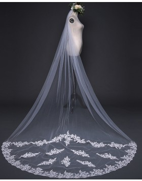 Ivory Tulle Lace Applique One Tier Cathedral Length Bridal Veil TS17126