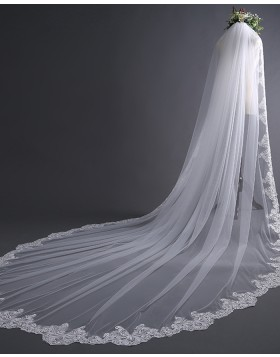 White Tulle Lace Applique Edge Cathedral Bridal Veil TS17136