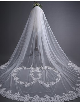 White One Tier Tulle Lace Applique Cathedral Length Bridal Veil TS17139