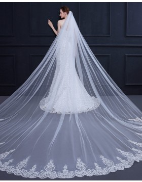 White Tulle Lace Applique Edge Cathedral Bridal Veil TS18002