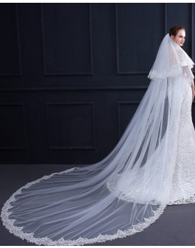 Two Tiers Lace Applique Edge Cathedral Length Bridal Veil TS18003