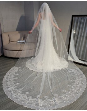 Ivory Lace Applique Edge Cathedral Bridal Veil TS18004