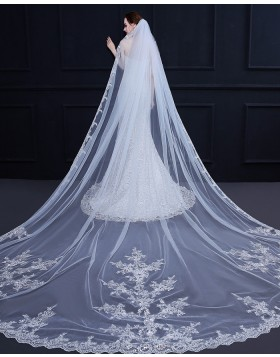 White Lace Applique Edge Cathedral Length Bridal Veil TS18009