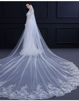 White Beaded Lace Applique Edge Cathedral Bridal Veil TS18010