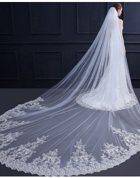White Lace Applique Edge Cathedral Bridal Veil with Comb TS18011