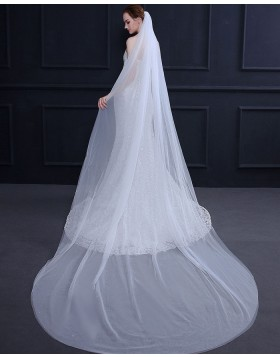 Simple White Tulle Cathedral Length Bridal Veil TS18015