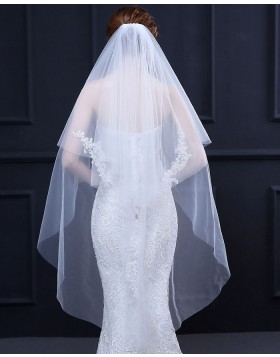 Two Tiers Ivory Lace Applique Fingertip Length Bridal Veil TS18018