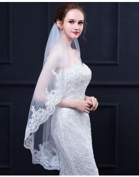 Lace Applique Edge Elbow Bridal Veil TS18020