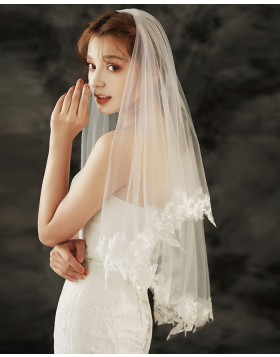 Ivory Two Tiers Lace Applique Edge Tulle Elbow Length Veil TS1901A