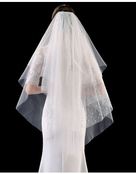 Four Tiers Lace Ivory Elbow Length Wedding Veil with Comb TS1903