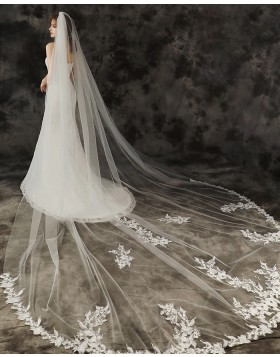 One Tier Ivory Applique Edge Cathedral Length Bridal Veil with Comb TS1910A