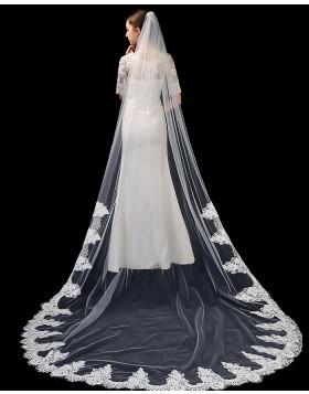 Tulle Ivory One Tier Lace Applique Edge Chapel Length Bridal Veil TS1917