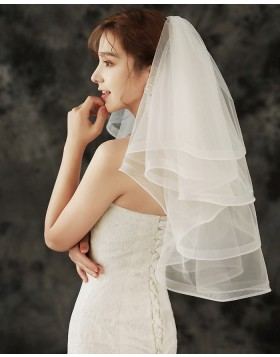 Four Tiers Ivory Tulle Shoulder Length Bridal Veil TS1920