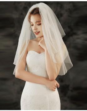 Three Tiers Beading Ivory Tulle Bridal Veil TS1921
