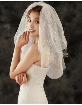 Three Tiers Beading Ivory Shoulder Length Bridal Veil TS1923