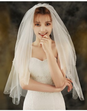 Two Tier Tulle Ivory Beaded Pearls  Elbow Length Bridal Veil with Comb TS1924