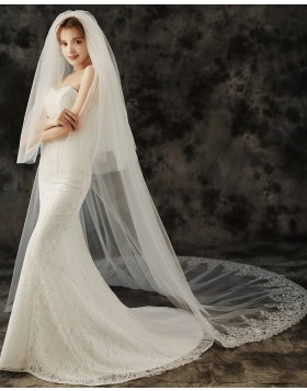 Two Tier Lace Applique Edge Cathedral Length Bridal Veil TS1926