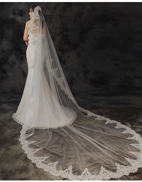 White Lace Applique Tulle Cathedral Length Bridal Veil TS1927