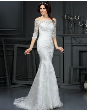 Off the Shoulder Appliqued Mermaid Style Wedding Dress with Half Length Sleeves WD2001