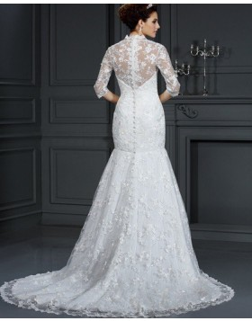 Queen Anne Lace Appliqued Ivory Mermaid Wedding Dress with Half Length Sleeves WD2003