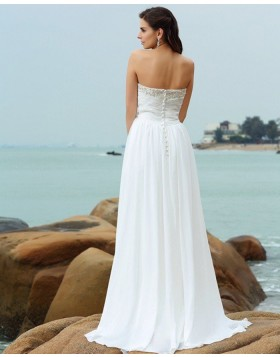 Sweetheart Beading Ruched Chiffon Simple Beach Wedding Dress WD2004