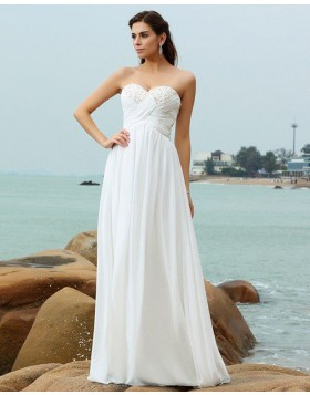 7b9dfbbba22 Sweetheart Beading Ruched Chiffon Simple Beach Wedding Dress WD2004 ...