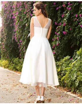 Jewel Ivory Tulle Tea Length Simple Wedding Dress with Sash WD2005