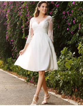 V-neck Knee Length Empire Appliqued Chiffon Short Wedding Dress with 3/4 Length Sleeves WD2006