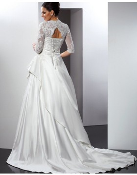 Queen Anne Lace Bodice Ruffled Satin Wedding Gown with Half Length Sleeves WD2007