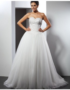 Sweetheart Beading Bodice Ivory Tulle Wedding Gown WD2008