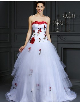 Strapless Appliqued Layered Tulle White Wedding Gown WD2009