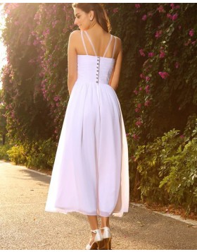 V-neck Beading White Ruched Empire Tea Length Beach Wedding Dress WD2012