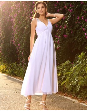 6353660bae6e V-neck Beading White Ruched Empire Tea Length Beach Wedding Dress WD2012 ...