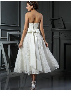 Sweetheart Ruched Tea Length Wedding Dress with Lace Flower Skirt WD2013