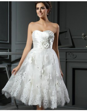 Sweetheart Ruched Lace Appliqued Short Wedding Dress with 3D Flowers WD2014