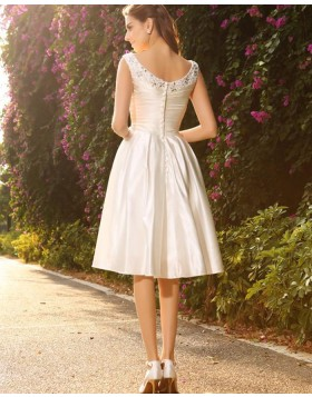 V-neck Beading Ruched Satin Ivory Knee Length Short Wedding Dress WD2016