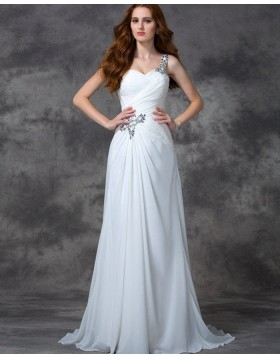 One Shoulder Beading Ruched White Chiffon Beach Wedding Dress WD2020