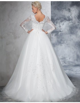 Jewel Beading Appliqued Pleated White Wedding Gown with Long Sleeves WD2021