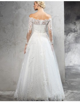 Off the Shoulder Lace Appliqued Polka Dot Wedding Dress with Long Sleeves WD2022