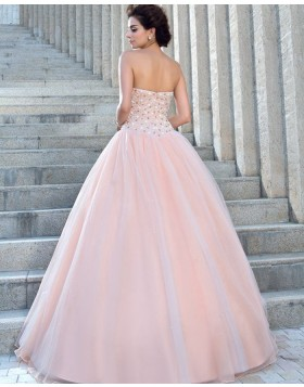 Strapless Beading Bodice Pink Pleated Princess Wedding Gown WD2023
